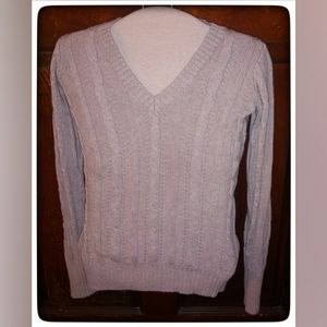 Old Navy Tan V-Neck Chunky Knit Sweater Sz S